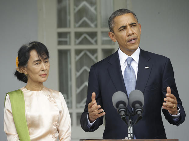 President Obama, accompanied by Myanmar opposition leader Aung San Suu Kyi, addresses members of the media at Suu Kyi's residence in Yangon, Myanmar, Monday, Nov. 19, 2012. Obama who touched down Monday morning, becoming the first U.S. president to visit the Asian nation also known as Burma, said his historic visit to Myanmar marks the next step in a new chapter between the two countries. This happened Nov. 19, 2012.