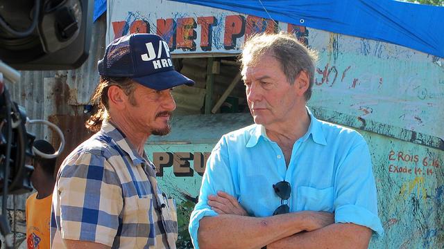 Sean Penn and Charlie Rose in Haiti