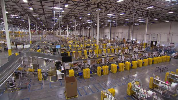 An assembly line at Amazon's biggest shipping center in Phoenix, Ariz.