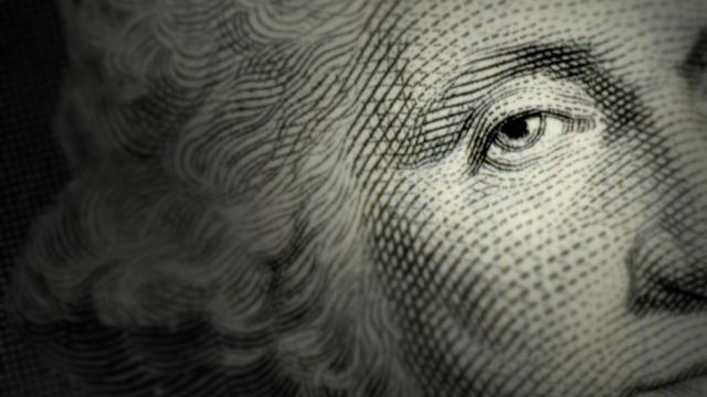 Dollar bill close up eye