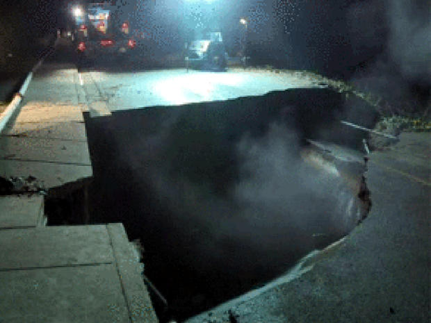 A storm caused a sinkhole to form in Lafayette, Calif., Dec. 2, 2012.