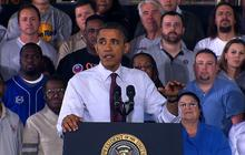 Obama takes on union fight in Michigan