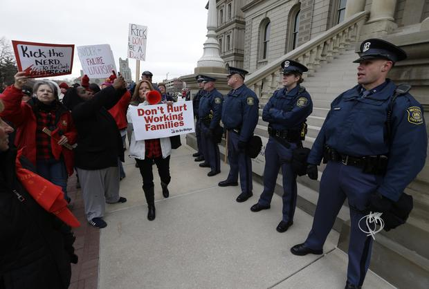 Right-to-work protest in Mich.