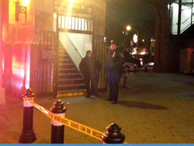 Scene outside NYC subway station where man was pushed to his death onto tracks in front of oncoming train on night of Dec. 27, 2012, according to police, in the city's second such incident this month.