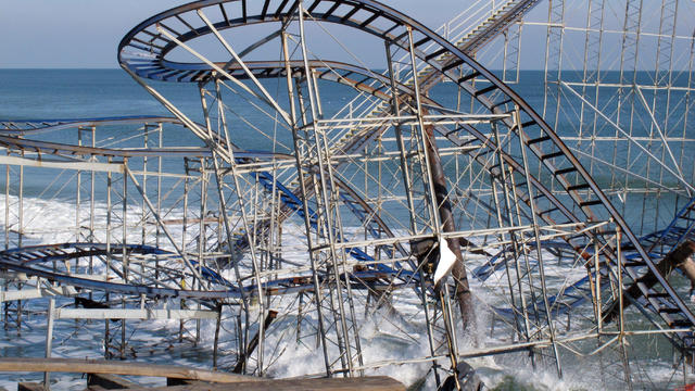 The Jet Star Roller Coaster is seen in Seaside Heights, N.J., Nov. 29, 2012, after plunging into the ocean when Superstorm Sandy wrecked the amusement pier on which it sat.