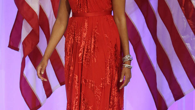 First lady Michelle Obama arrives Commander-in-Chief's Inaugural Ball at the 57th Presidential Inauguration in Washington, Monday, Jan. 21, 2013.