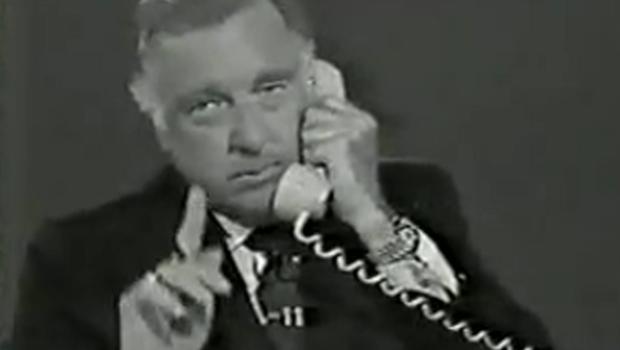 CBS News' Walter Cronkite speaks on the phone with Lyndon B. Johnson's press secretary on January 22, 1973.