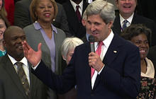 "Kerry's first day as Secretary of State: ""I have big heels to fill"""