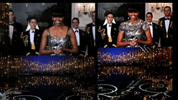 Left: Michelle Obama announcing the best picture winner at the Oscars. Right: The same image, as it appeared on an Iranian state news agency.