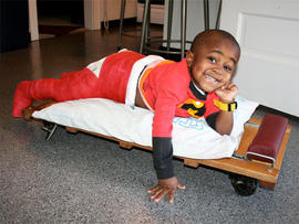 Robby has osteogenesis imperfecta, a disease that makes his bones brittle.