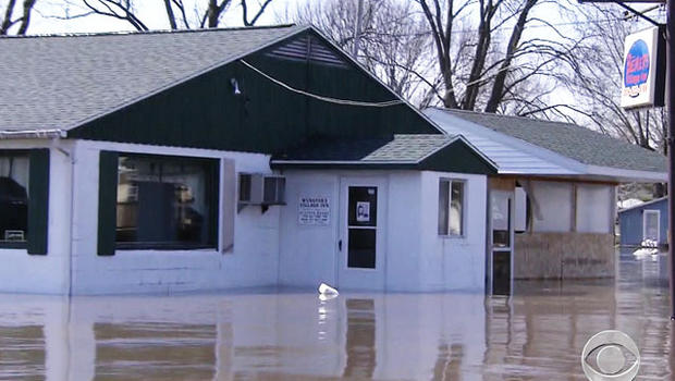 Forty-five homes in small town of Spring Bay, Ill., are under water.