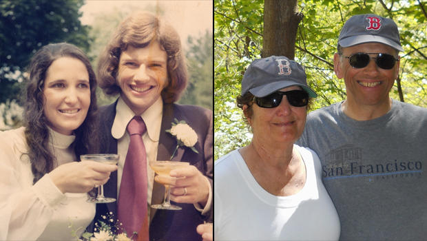 Syrel and Mick Dawson on their wedding day in 1973 and more recently in 2013.