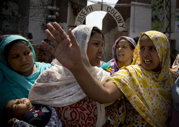 Angry Pakistani Christians protest the beating of a young Christian man from the Joseph Colony