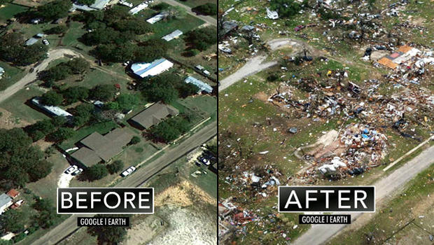 A satellite photo of Granbury, Texas before and after a 200 mph-tornado ripped through the area Wednesday night.