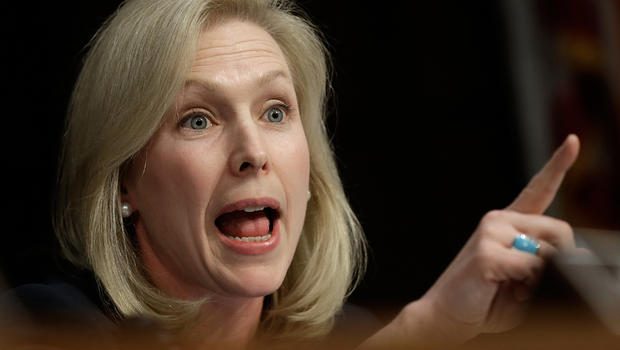 Sen. Kirsten Gillibrand (D-NY) speaks while U.S. military leaders testify before the Senate Armed Services Committee.
