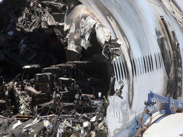 Photos of Asiana crash wreckage