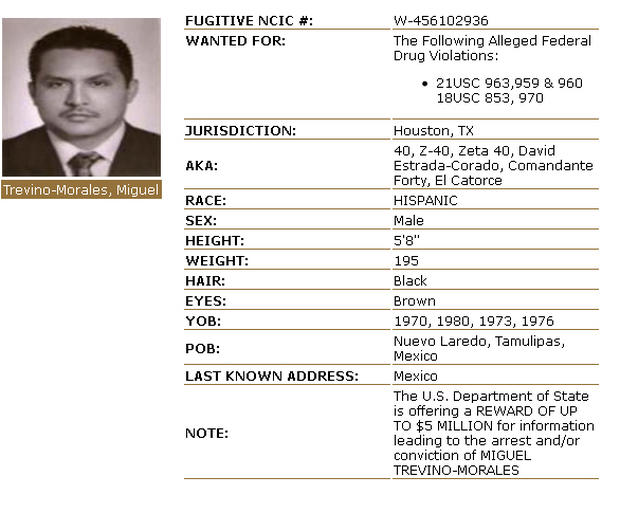 The wanted poster for Miguel Trevino Morales on the Drug Enforcement Administration's website.