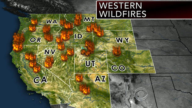 An image of wildfires burning in the Western U.S. as of August 19, 2013.