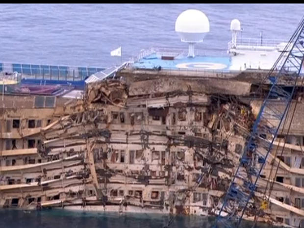 Costa Concordia cruise liner on Sept. 17, 2013, shortly after it was pulled upright in waters off Italy 20 months after deadly shipwreck