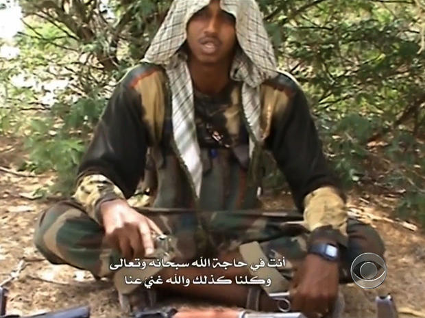 An English-speaking operative of Somali terror group al-Shabab is seen in an Internet recruitment video.