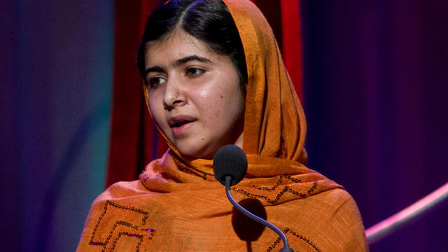 Malala Yousafzai, Pakistani teenager shot by Taliban for promoting education for girls, speaks after receiving Leadership in Civil Society award at Clinton Global Initiative's Citizen Awards Dinner, Sept. 25, 2013, in New York