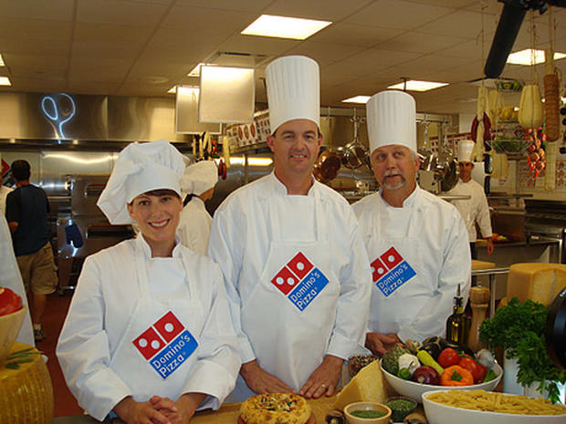 Domino's Chief Marketing Officer Russell J. Weiner and Domino's pizza chefs