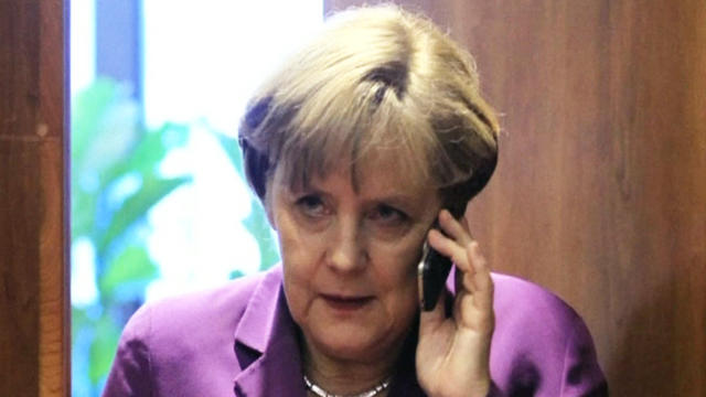 Germany's Chancellor Angela Merkel is seen speaking on her phone in this file photo