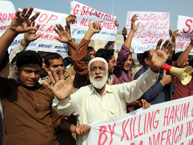 Pakistani protesters from United Citizen Action shout anti-U.S. slogans during a protest against the killing of Taliban leader Hakimullah Mehsud in a U.S. drone attack Nov. 2, 2013.