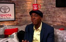 Arsenio Hall mugs for the camera in the Toyota green room