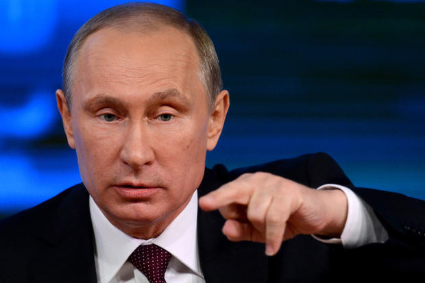 Russia's President Vladimir Putin speaks at his annual press conference in Moscow