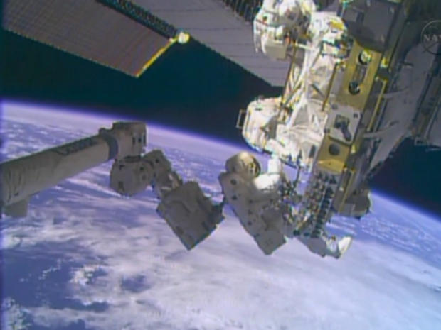 Astronauts Rick Mastracchio and Mike Hopkins during spacewalk to repair International Space Station cooling system on Dec. 24, 2013
