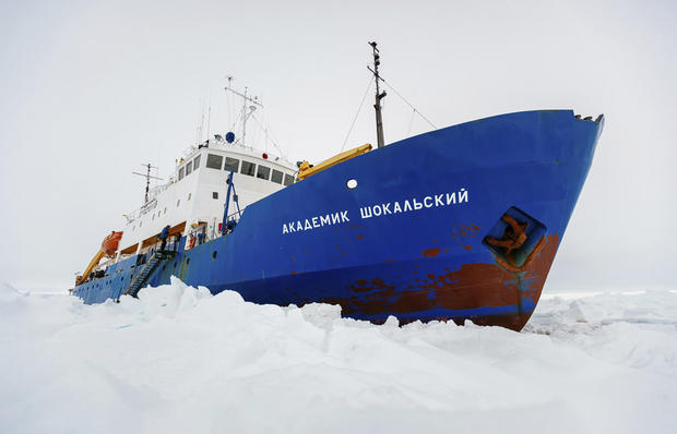 The Russian ship MV Akademik Shokalskiy is trapped in thick Antarctic ice 1,500 nautical miles south of Hobart, Australia, Dec. 27, 2013, in this picture provided by Australasian Antarctic Expedition/Footloose Fotography.