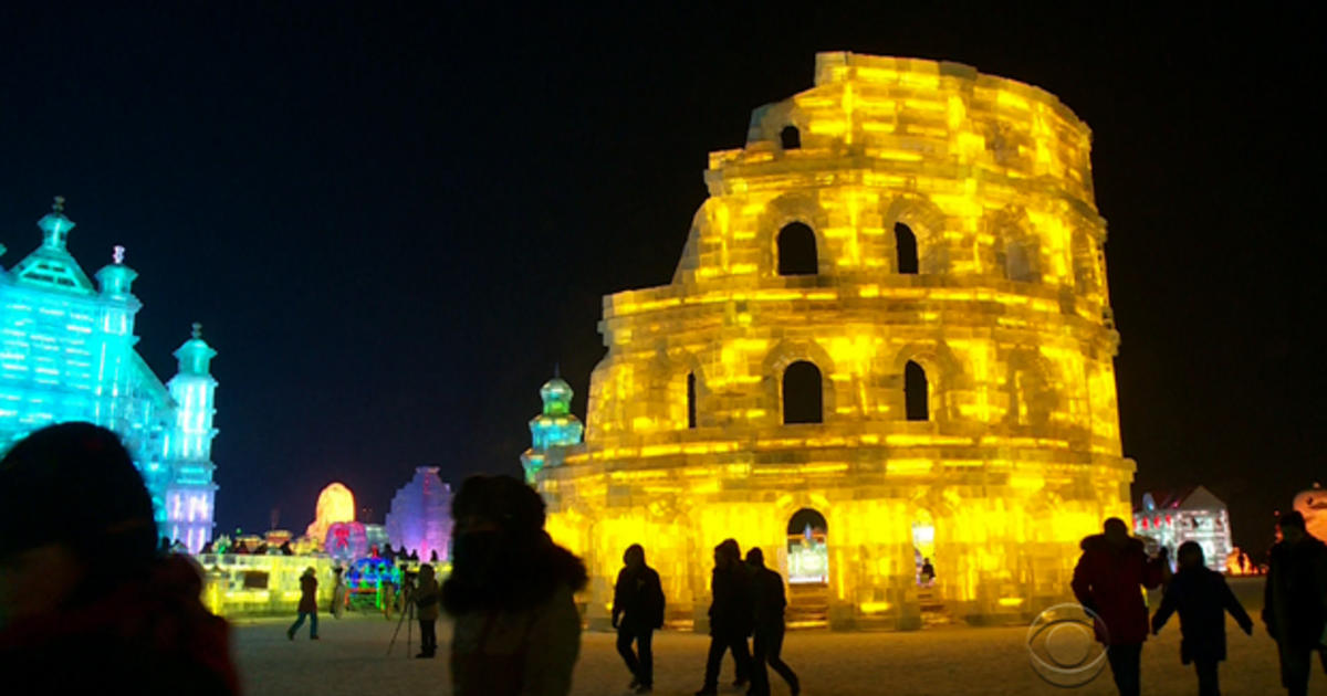 A Frozen Flashy City Arises From The Ice In China Cbs News