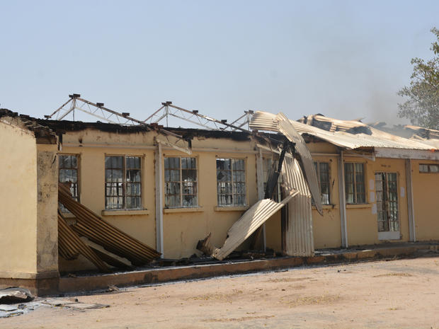 The remains of the burned out Federal Government College in Buni Yadi