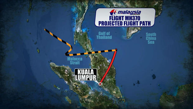 The projected flight path of Malaysia Airlines Flight 370