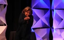 Hillary Clinton dodges shoe at Vegas convention