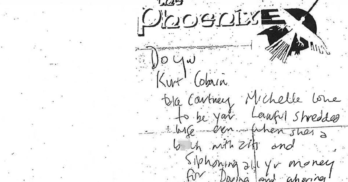 Kurt Cobain handwritten death-scene note, made public ...