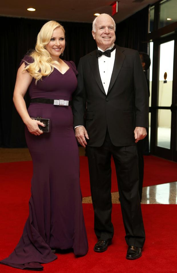 Meghan McCain and her father, Sen. John McCain, R-Ariz., arrive on the red carpet at the annual White House Correspondents' Association dinner in Washington May 3, 2014.