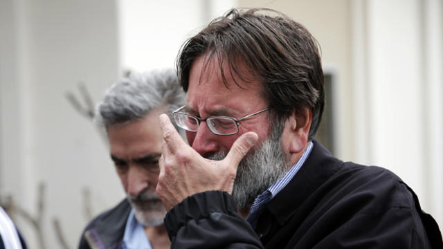 Richard Martinez, whose son, Christopher Michaels-Martinez, was killed in mass shooting that took place in Isla Vista, Calif., breaks down as he talks to media outside Santa Barbara County Sheriff's Headquarters on May 24, 2014, in Santa Barbara, Calif.