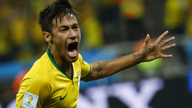 Brazil's Neymar celebrates his goal against Croatia during the 2014 World Cup opening match at the Corinthians arena in Sao Paulo June 12, 2014.