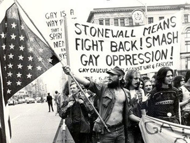 Pro-gay rights demonstrators at the time of the famous Stonewall riots