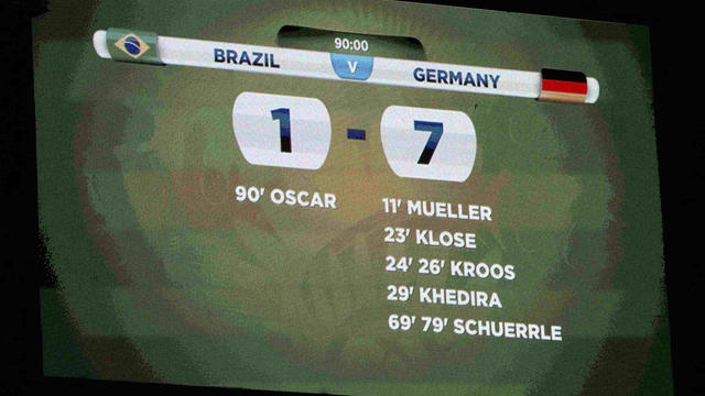 A general view of the scoreboard shows the result at the end of the 2014 World Cup semifinals between Brazil and Germany at the Mineirao stadium in Belo Horizonte July 8, 2014.