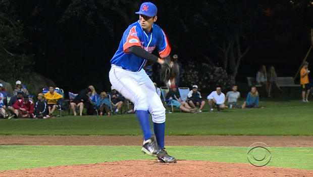 Ryan Perez winds up for the Hyannis Harbor Hawks in the Cape Cod League.