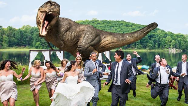 Juric Park Star Jeff Goldblum Poses For T Rex Wedding Photo Cbs News