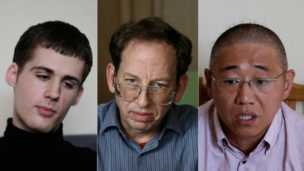 Three Americans detained in North Korea, from left: Matthew Miller, Jeffrey Fowle and Kenneth Bae, spoke with outside media Sept. 1, 2014
