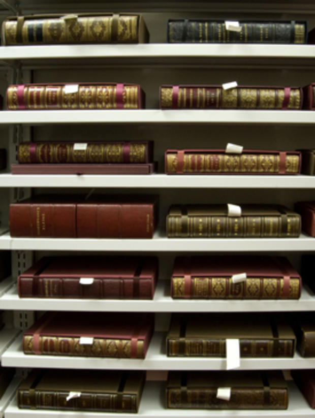 """Copies of """"The First Folio"""" in the Folger Shakespeare Library vault"""