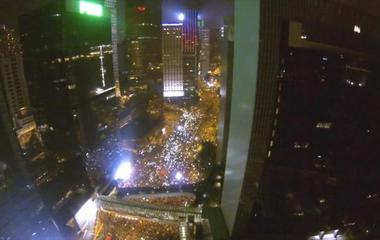 Drone's eye view of Hong Kong protests