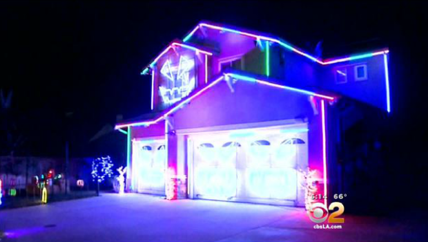 police shut down 12000 light halloween home display in riverside california near los angeles cbs news