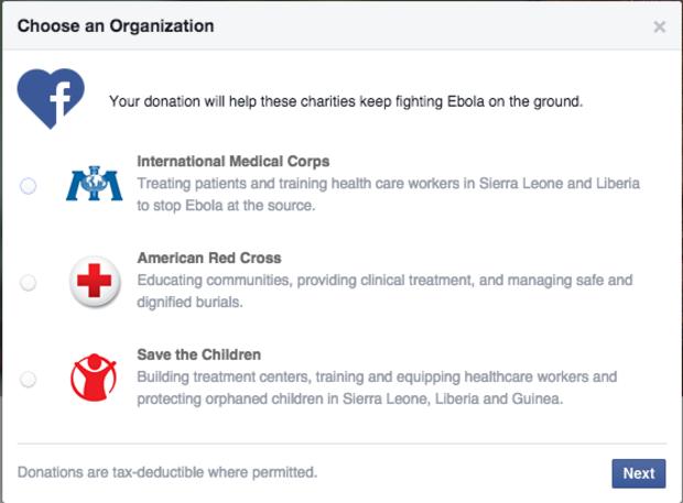 facebook ebola donate button