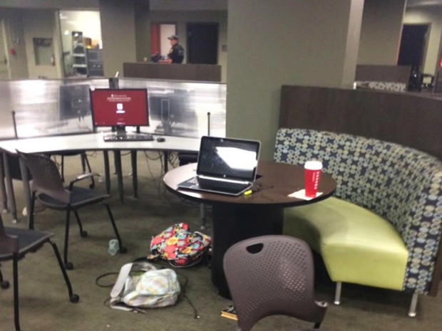 Students left belongings behind while fleeing Strozier Library on the Tallahassee campus of Florida State University after a shooting early Nov. 20, 2014.